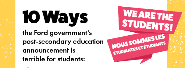 10 Ways Ford Government's Post Secondary Education Announcement is Bad for Students and their Families